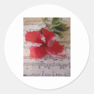 Notas florales pegatina redonda