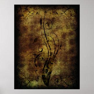 Notas florales y musicales Brown rústico del Grung Poster