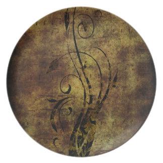 Notas florales y musicales Brown rústico del Grung Plato De Comida