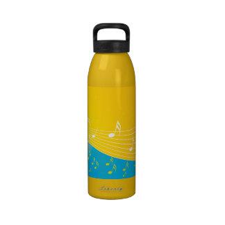 Notas frescas azules anaranjadas de la música botellas de agua reutilizables