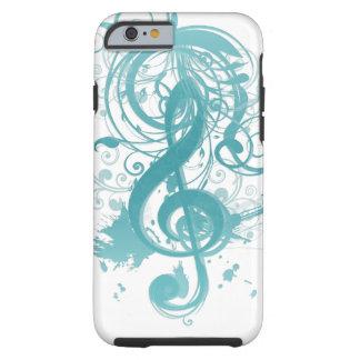 Notas frescas hermosas de la música con remolinos funda resistente iPhone 6