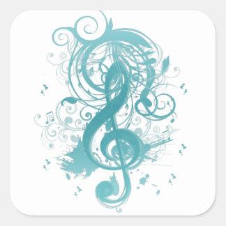 Notas frescas hermosas de la música con remolinos calcomanías cuadradas personalizadas