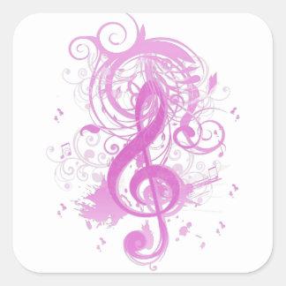 Notas frescas hermosas de la música con remolinos colcomania cuadrada