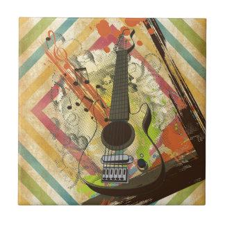 Notas frescas hermosas de la música de la guitarra azulejos