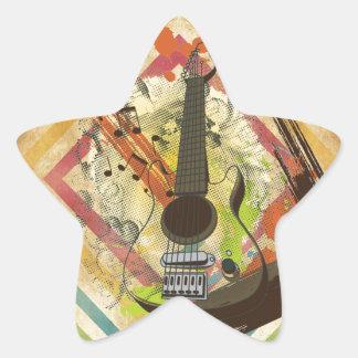 Notas frescas hermosas de la música de la guitarra colcomanias forma de estrellaes personalizadas