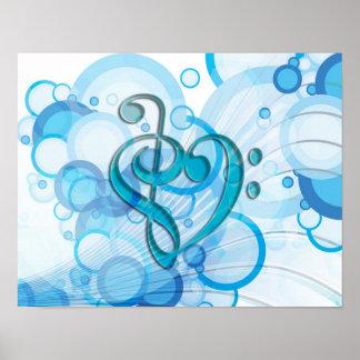 Notas frescas hermosas de la música junto como cor póster