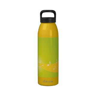 Notas frescas verdes anaranjadas de la música botella de agua