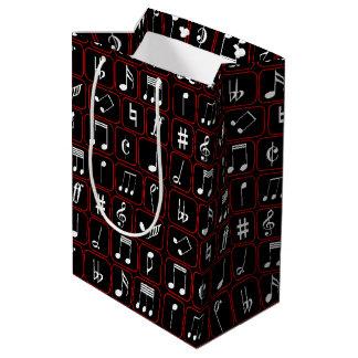 Notas geométricas blancos y negros rojas elegantes bolsa de regalo mediana