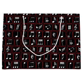 Notas geométricas blancos y negros rojas elegantes bolsa de regalo grande