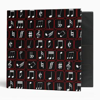 Notas geométricas blancos y negros rojas elegantes carpeta 5 cm