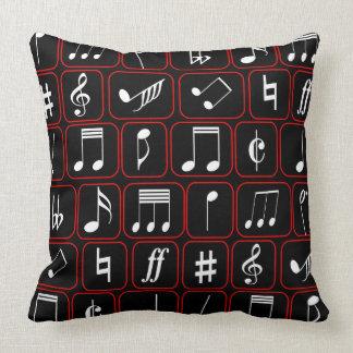 Notas geométricas blancos y negros rojas elegantes cojín