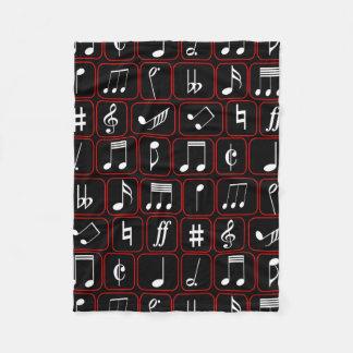 Notas geométricas blancos y negros rojas elegantes manta de forro polar