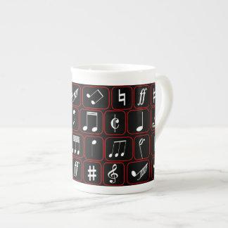 Notas geométricas blancos y negros rojas elegantes taza de porcelana