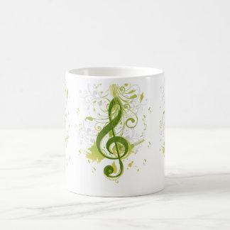 Notas hermosas y frescas de la música con la salpi taza básica blanca