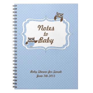Notas lindas de la fiesta de bienvenida al bebé de libretas espirales