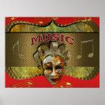 Notas metálicas sonrientes de la música de la másc poster