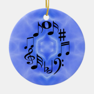 Notas musicales adorno navideño redondo de cerámica