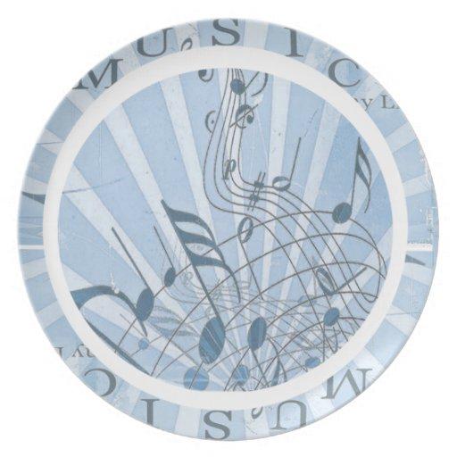 Notas musicales azules plato