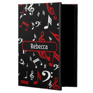 Notas musicales blancas y negras rojas