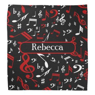 Notas musicales blancas y negras rojas bandanas