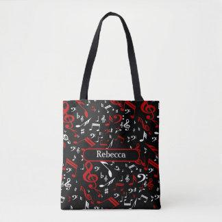 Notas musicales blancas y negras rojas bolsa de tela
