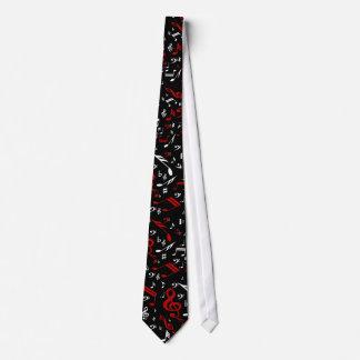 Notas musicales blancas y negras rojas corbatas personalizadas