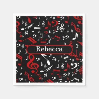 Notas musicales blancas y negras rojas servilleta desechable