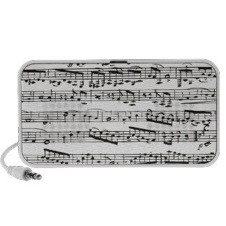 Notas musicales blancos y negros iPod altavoz