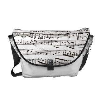 Notas musicales blancos y negros bolsa de mensajería