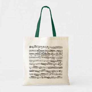 Notas musicales blancos y negros bolsas de mano