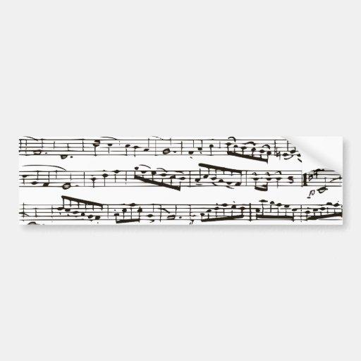 Notas musicales blancos y negros pegatina de parachoque
