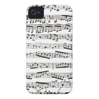 Notas musicales blancos y negros carcasa para iPhone 4