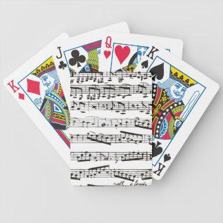 Notas musicales blancos y negros baraja de cartas