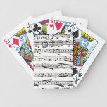 Notas musicales blancos y negros cartas de juego