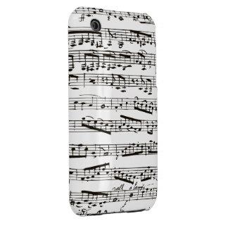 Notas musicales blancos y negros Case-Mate iPhone 3 protector