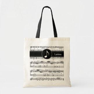 notas musicales blancos y negros de encargo bolsa lienzo
