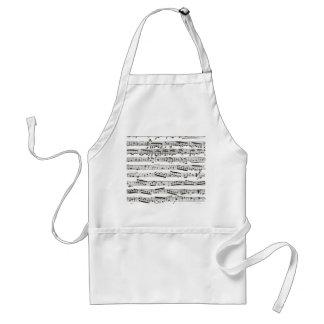 Notas musicales blancos y negros delantal