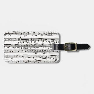 Notas musicales blancos y negros etiqueta para equipaje