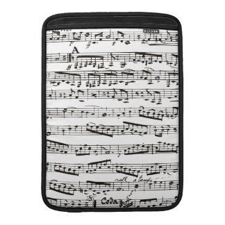Notas musicales blancos y negros fundas MacBook