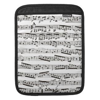 Notas musicales blancos y negros funda para iPads