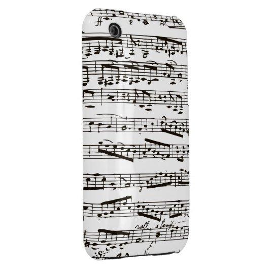Notas musicales blancos y negros funda para iPhone 3