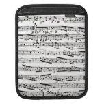 Notas musicales blancos y negros fundas para iPads