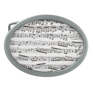 Notas musicales blancos y negros hebilla cinturón oval