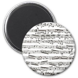 Notas musicales blancos y negros imán redondo 5 cm