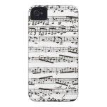 Notas musicales blancos y negros iPhone 4 funda
