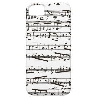 Notas musicales blancos y negros iPhone 5 funda