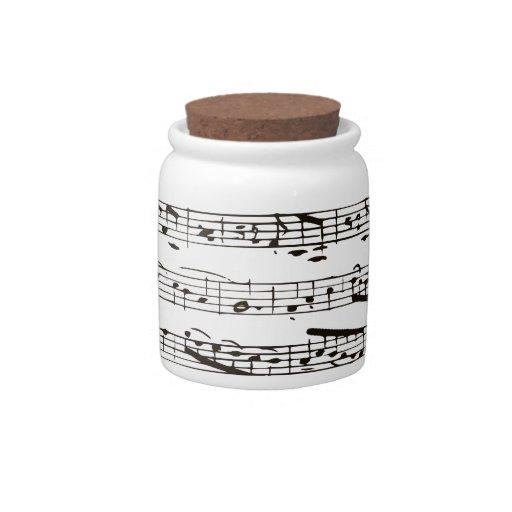 Notas musicales blancos y negros jarra para caramelo