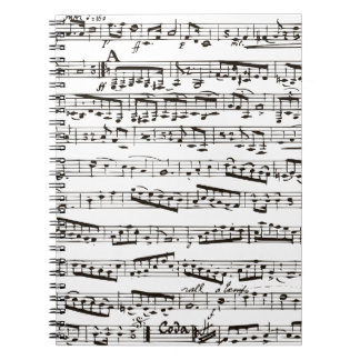 Notas musicales blancos y negros cuaderno