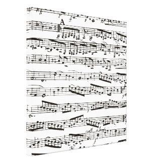 Notas musicales blancos y negros impresiones en lienzo estiradas
