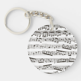 Notas musicales blancos y negros llavero